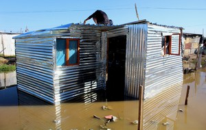 Photo of a shack under water