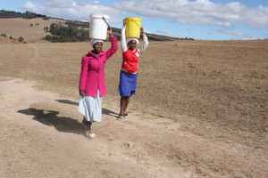 Photo of people carrying water
