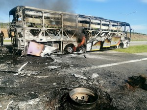 Photo of burned bus