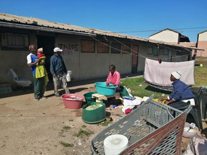 Photo of residents doing the washing
