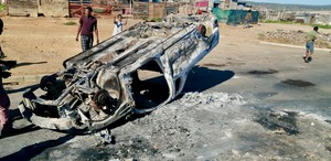 Photo of burnt out car