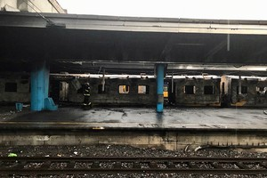 Photo of burnt out train