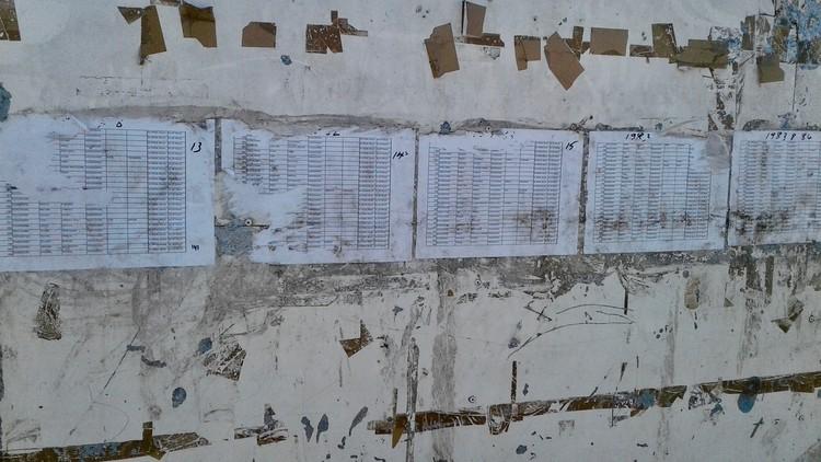 Photo of a list on a fibrecrete wall