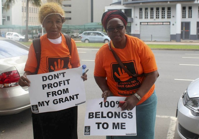Photo of two women protesters in the social grants campaign