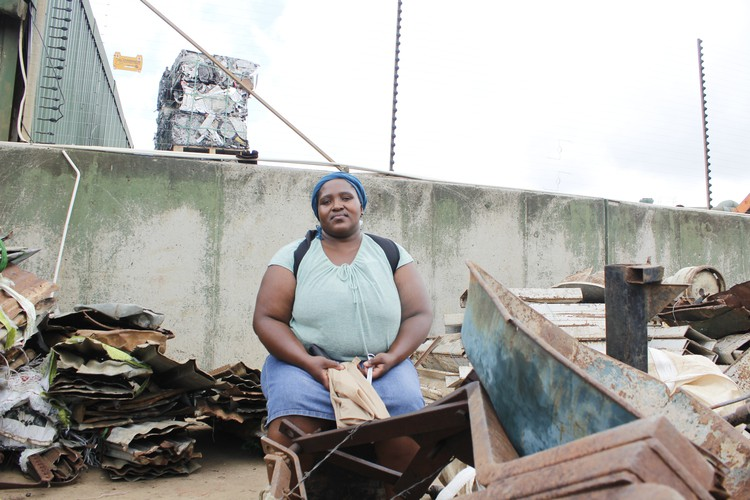 Nelisa Pambane travels hundreds of kilometers to sell scrap metal