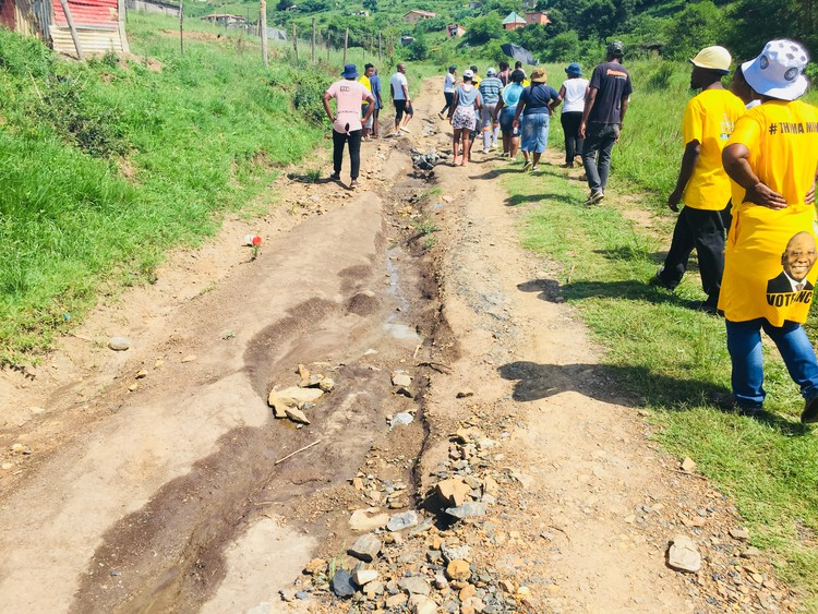 "Residents look forward to government officials travelling on potholed road and ""feeling their pain"""