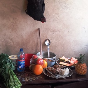 Photo of a table with food and a chicken