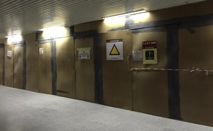 Photo of locked doors in Botha Sigcau Building