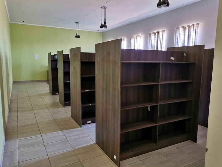 Photo of empty bookshelves