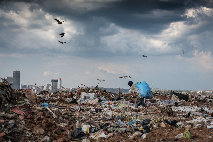 Photo of waste with Johannesburg in the background