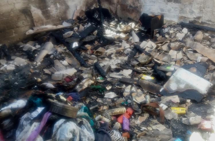 Photo of burnt possessions
