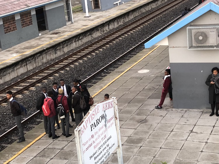 Photo of people on station platform