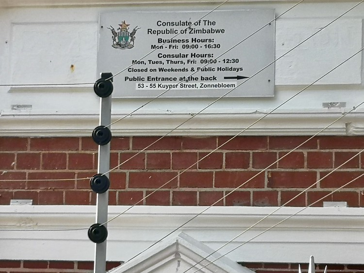 Photo of the sign for the Zimbabwean consulate in Cape Town