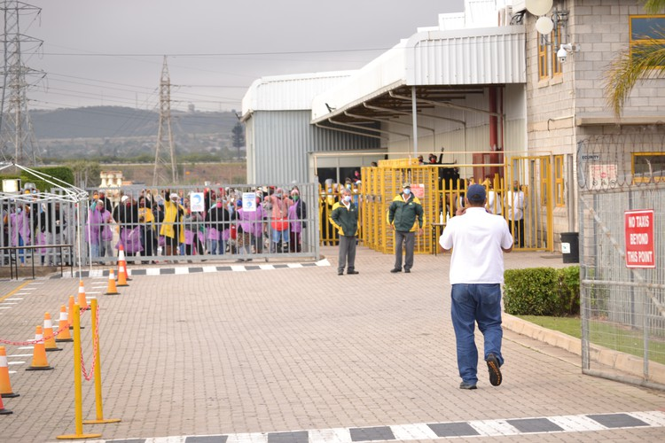 Workers at Kromberg & Schubert in Uitenhage downed tools on Thursday morning after an employee tested positive for Covid-19. Photo: Thamsanqa Mbovane