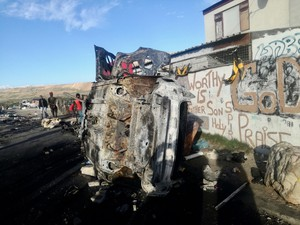 Photo of a burnt out car