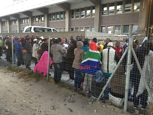 Photo of asylum seeker queue at Home Affairs