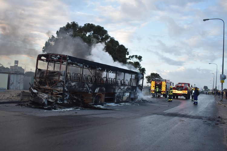 Photo of burnt out bus