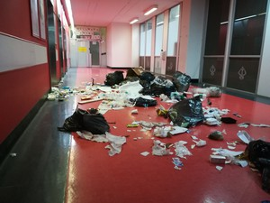 Photo of garbage in corridor