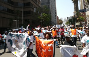 Photo of people marching through Johannesburg
