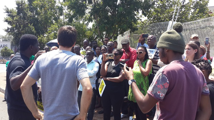Photo of protest at University of Johannesburg residence