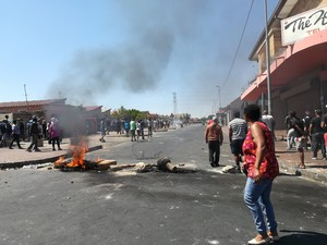 Photo of burning tyres in street