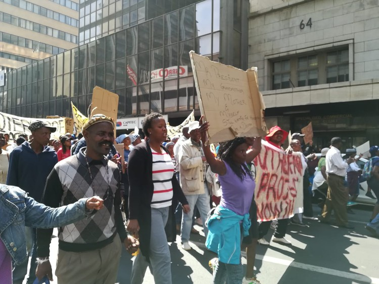 Photo of residents marching in Johannesburg