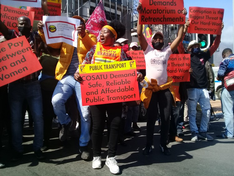 SAFTU members marching from the Civic Centre to Parliament in Cape Town, mostly to call for safer public transport. Photo: Marecia Damons
