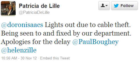 Patricia de Lille @PatriciaDeLille: @doronisaacs Lights out due to cable theft. Being seen to and fixed by our department. Apologies for the delay @PaulBoughey @helenzille