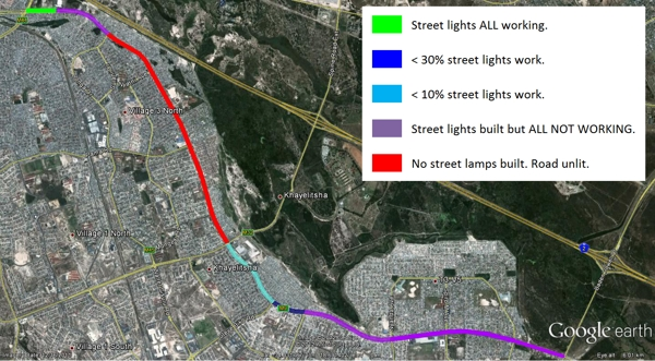 A map of the streetlight situation in September last year published as part of the GroundUp editorial