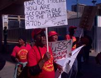 Protest outside the Seriti Commission yesterday, while former President Thabo Mbeki testified. Photo by Bongani Xezwi.