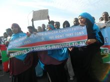 Somalis march against xenophobia on 7 June 2013. Photo by Tariro Washinyira.