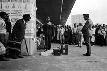 Street performance, Durban 1981. Picture by Omar Badsha.