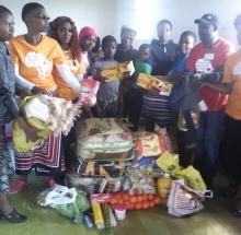 Umanyano lwabaphulaphula donated groceries, school uniforms and blankets to the Nkuphe family. Photo supplied by Umanyano lwabaphulaphula.